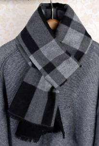 100% Silk brushed nap Scarf men Women Shawl Wrap Plaids Checks black gray QS74-6