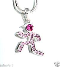 w Swarovski Crystal Runner Jogger Sport Running Man Boy Pink Necklace Jewelry