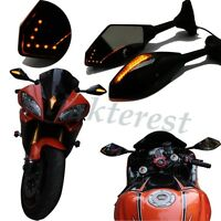 BLACK LED TURN SIGNALS REARVIEW MIRRORS AMBER FOR YAMAHA YZF 600 1000 FZ1 FZ6 R
