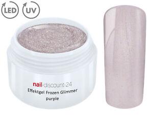 UV LED Effekt Gel FROZEN Glimmer PURPLE Farb Color Feiner Glitzer Glitter Lila