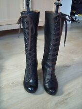 OFFICE BLACK VICTORIAN STYLE LEATHER BOOTS SZ 6/39