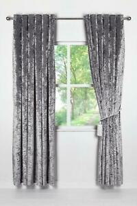 ONE PAIR OF CRUSHED VELVET LINED EYELET CURTAINS SILVER 90""