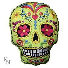 Nemesis Now Sugar Skull Shaped Cushion Pillow Green 27cm Day Of The Dead