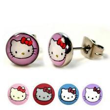 Acero Inoxidable Pendientes Hello Kitty 8mm Chicas Lindos Pequeño Gato Par Tacha