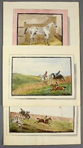 1830s | three original watercolours of steeplechase, hunting and horse in stable