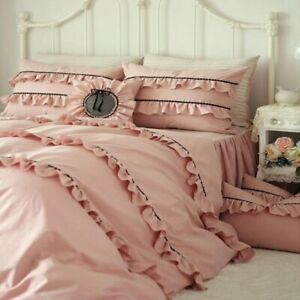Pure Cotton Solid Color Pink Bedding Set 4pcs Full Queen Size Ruffles Bed Skirt