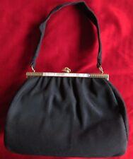 Vintage Leather School Florence Black Suede Mother of Pearl Handbag Purse