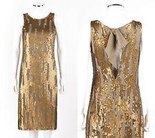 ZENOBIA Brass Sequin Embellished Silk Sleeveless Shift Cocktail Evening Dress 6