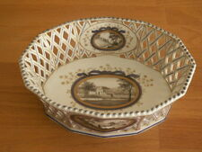 NYMPHENBURG PEARL FANTASY HP PORCELAIN PIERCED BASKET WITH TOPOGRAPHICAL