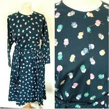 Vintage 70s Jaeger blue jersey floral jersey dress XS S UK 6 8