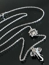 Silver Lotus Flower & Elephant Long Pendant Necklace--Thin Stainless Steel Chain