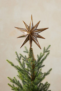 NEW Anthropologie Bright Star Tree Topper Antique Vintage Gold Look Mirror