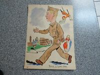 VINTAGE WWII WW2 PAINTING WATERCOLOR GI SERVICEMAN WELCOME TO ROME 1944