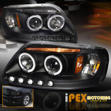 1997-2003 Ford F150 / 97-02 Expedition Dual Halo Projector LED Headlights Black