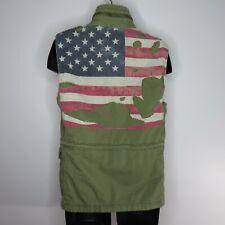 Denim Supply Ralph Lauren Men's Vest S Cotton Green Olive USA Flag Distressed