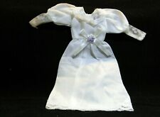"""BARBIE DOLL SIZE WHITE NYLON THIN MATERIAL GOWN 8"""" LONG"""