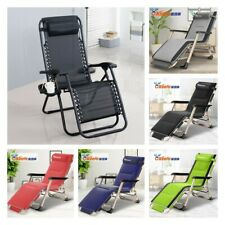 Reclining Sun Lounger Outdoor Garden Folding Zero Gravity Chair Adjustable Rest