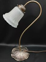 Vintage Table Lamp Bankers Desk Lily Goose Neck Light Gold Base Ruffled Shade