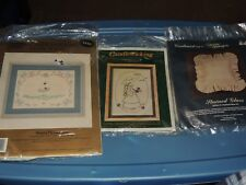Lot of 3 CANDLEWICKING EMBROIDERY KITS SWANS PICTURE FLOWER GIRL STAINED GLASS