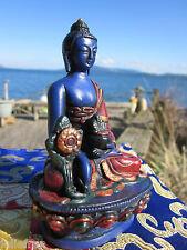 """UNIQUE HAND PAINTED 4+"""" Tibetan Buddhist BELOVED HEALING MEDICINE BUDDHA STATUE"""
