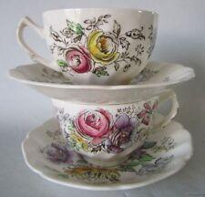 2 JOHNSON BROS England hp SHERATON Cup & Saucer Sets