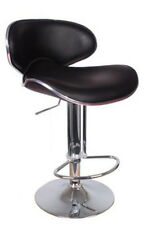 Kitchen Bar Stool Casino Style Black Faux Leather Breakfast High Chair Seat