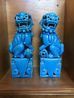 Vintage Chinese Foo Dog Set  Turquoise  8in
