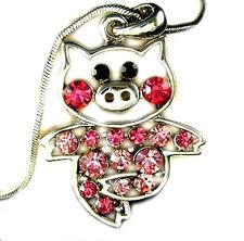 Adorable Crystal Pig Piggy Piglet Charm Pendant Necklace Pink Rose Crystals