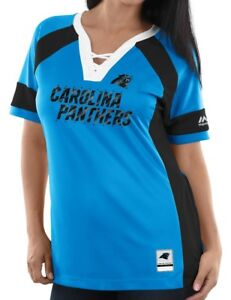 "Carolina Panthers Women's Majestic NFL ""Draft Me 3"" Jersey Top Shirt - Blue"