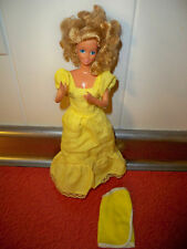1980's Vintage magic curl barbie Yellow dress, doll and wrap around towel Yellow