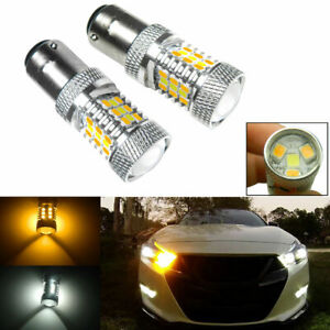 2x 1157 2357 2057 High Power Amber/White Switchback LED Turn Signal Light Bulbs