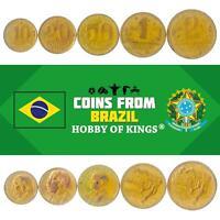 SET OF 5 COINS FROM BRAZIL. 10, 20, 50 CENTAVOS, 1, 2 CRUZEIROS. 1942-1956