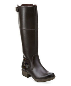 """CLARKS """"RIDDLE PHRASE"""" BLACK RIDING BOOTS KNEE ZIP BUCKLES RUBBER SOLE Sz 7.5"""