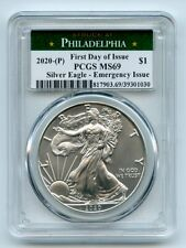 2020 (P) $1 American Silver Eagle Emergency Issue PCGS MS69 First Day of Issue