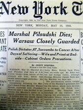 <1935 newspaper SOCIALIST POLISH DICTATOR JOZEF PILSUDSKI DEAD fr Cancer POLAND