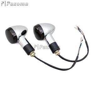 2 in 1 LED 12V Front Turn Signal Light Amber+White Lamp Indicator Universal 10mm