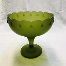 Vintage Indiana Glass Frosted Satin Green Teardrop Compote Candy Dish Nut Bowl