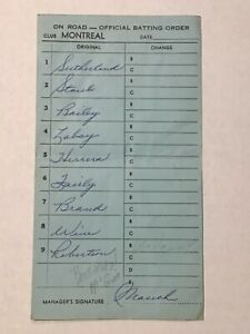 Montreal Expos Baseball 1969 Game Used Lineup Card Rusty Staub Mauch 6