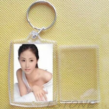 Acrylic Plastic 40 x 27 mm BLANK KEYRINGS Insert Photo Passport Key rings 100pcs
