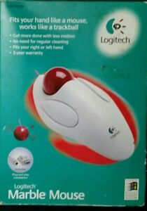 Vintage Logitech Marble Trackball Mouse 4286 PS/2 or DB9 (1998) - New opened box
