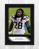 Melvin Gordon NFL Los Angeles Chargers A4 signed mounted poster. Choice of frame