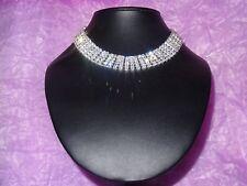 Nickel free silver plated diamante crystal 5 row choker/necklace jewellery