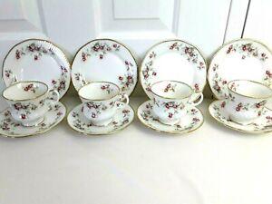 Vintage Staffordshire pink tea cup trio Elizabethan Rosamund England bone china