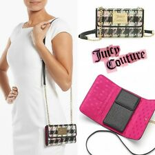 NWT Juicy Couture Coated Tweed Crossbody Clutch Card Holder Gold Purse Wallet -