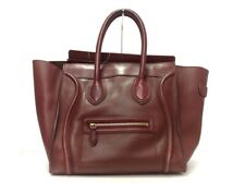 Auth CELINE Luggage Mini Shopper Bordeaux Leather Tote Bag