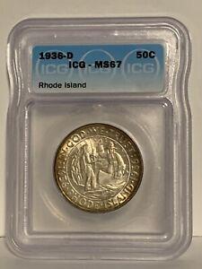 1936-D RHODE ISLAND ICG MS 67 ~ PRETTY TONED COMMEMORATIVE HALF DOLLAR