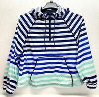 Hunter for Target Women's Blue Striped Half Zip Hooded Rain Jacket Size M - NWOT