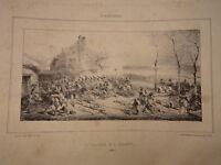 Eugène LAMI (1800-1890) LITHO Bataille CLAYE SOUILLY MEAUX 1814 NAPOLEON EMPIRE