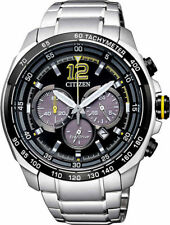 MEN'S CITIZEN ECO DRIVE SPORT RACING BLACK DIAL CHRONOGRAPH WATCH CA4234-51E