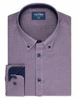 T.M.Lewin Mens Casual Slim Fit Navy and Red Gingham Single Cuff Shirt